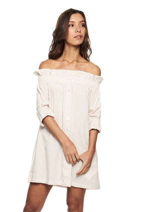 MINKPINK Business Class Offshoulder Dress (Beige) - ChicStyle