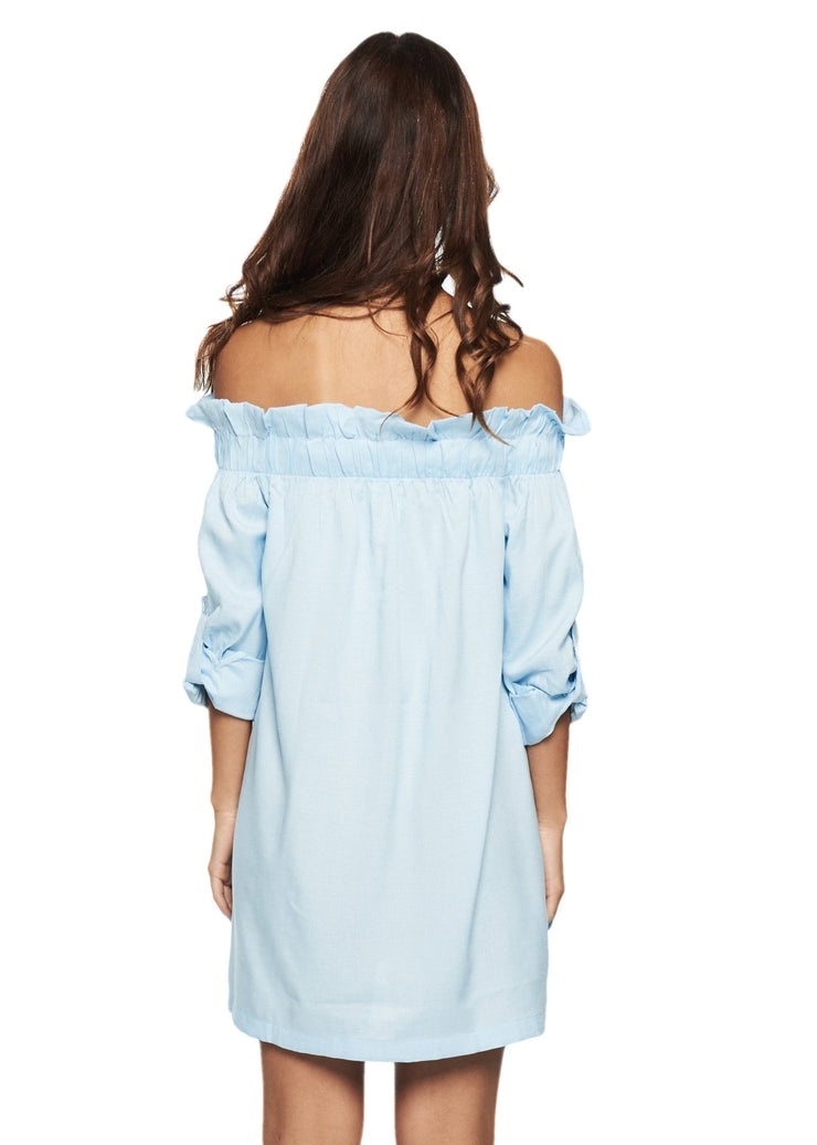 MINKPINK Business Class Offshoulder Dress (Light Blue) - ChicStyle