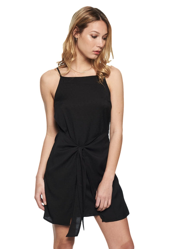MINKPINK Island Tie Front Dress (Black) - ChicStyle