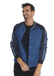 Ben Sherman Snap Front Luxe Bomber Jacket (Blue) - ChicStyle