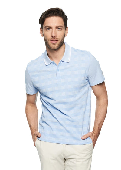 Ben Sherman 2tone Pique Checkerboard Polo (Tonic Blue) - ChicStyle