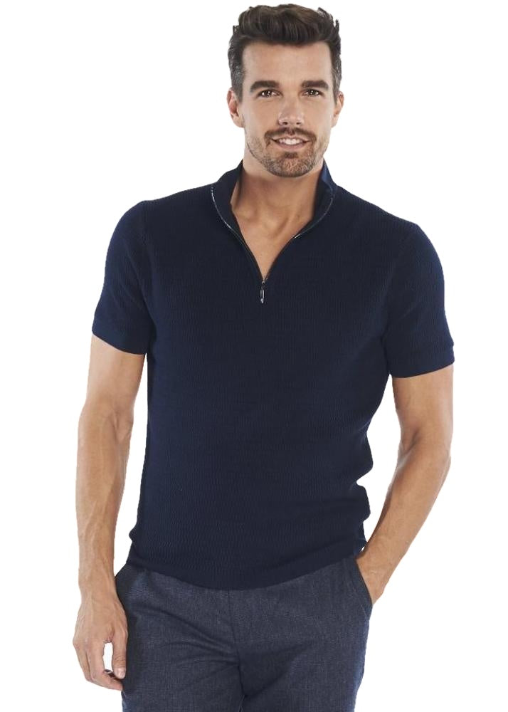 Ben Sherman Funnel Neck Knitted Polo (Navy) - ChicStyle
