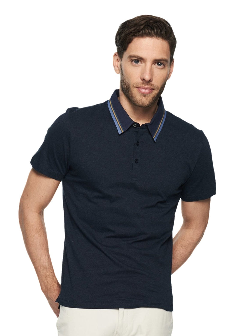 Ben Sherman Marl Tipped Collar Polo (Navy Blazer Marl) - ChicStyle