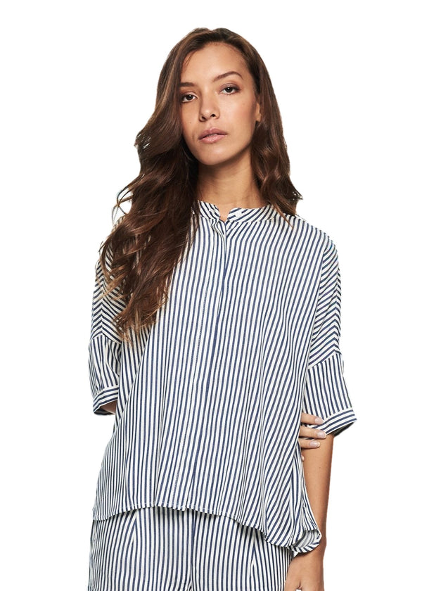 Just Female Beach Shirt (Blue Stripe) - ChicStyle