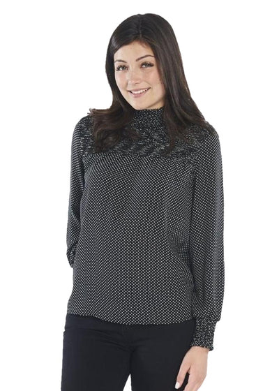 Just Female Hiro Blouse (Mini-Dot Aop) (Black) - ChicStyle