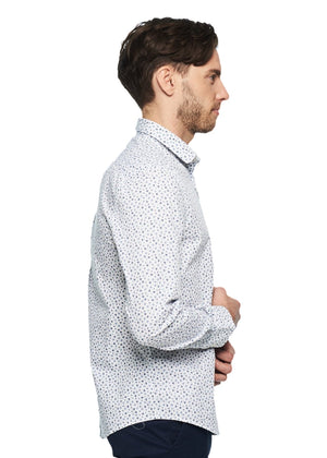 Ben Sherman Long Sleeve Micro Floral Shirt (Bright White) - ChicStyle
