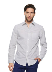 Ben Sherman Long Sleeve Micro Square Geo (Bright White) - ChicStyle