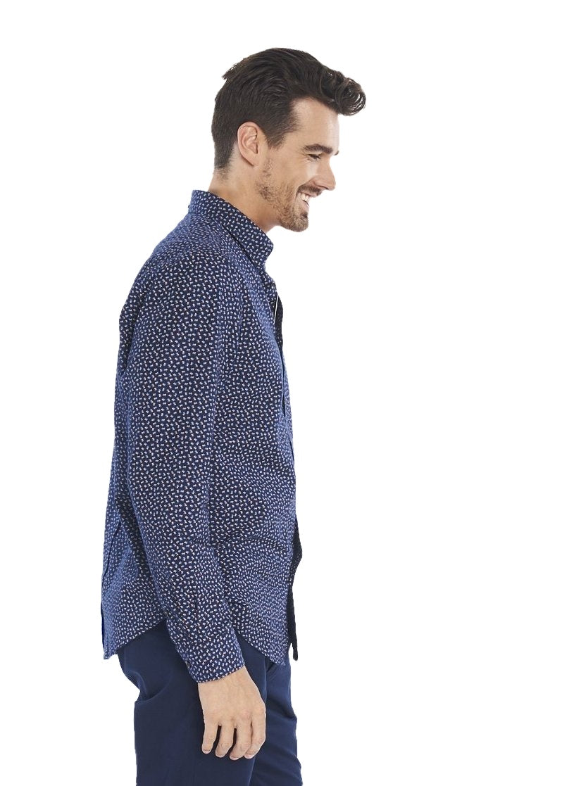 Ben Sherman Long Sleeve Micro Twill Floral (Navy) - ChicStyle