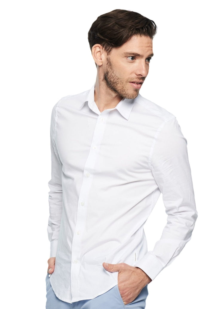 Ben Sherman Long Sleeve Stretch Poplin (White) - ChicStyle