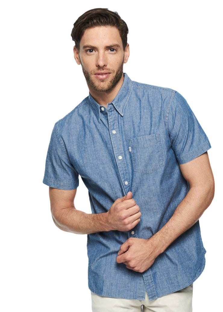 Levi's Small Sleeve Sunset 1 Pocket Shirt (Light Blue) - ChicStyle