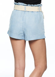 MINKPINK Clean Cut Tencel Paperbag Shorts (Light Blue) - ChicStyle