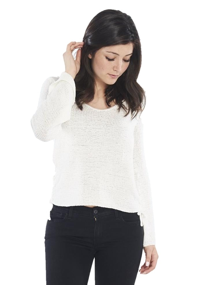MINKPINK Beau Lace Side Sweater (White) - ChicStyle