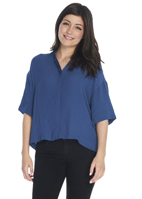 Just Female Cord Tee Shirt (Insigma Blue) - ChicStyle