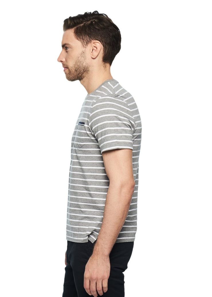 Ben Sherman Engineered Tipping Breton Tee (Grey) - ChicStyle