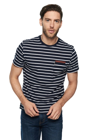 Ben Sherman Engineered Tipping Breton Tee (Navy) - ChicStyle