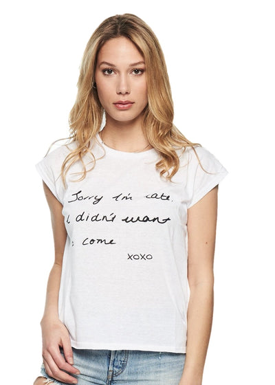 MINKPINK Sorry I'm Late Tee (White) - ChicStyle