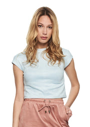 MINKPINK Dita Suede High Neck Top (Light Blue) - ChicStyle