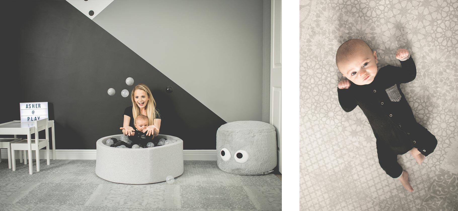 chic nursery with ball pit