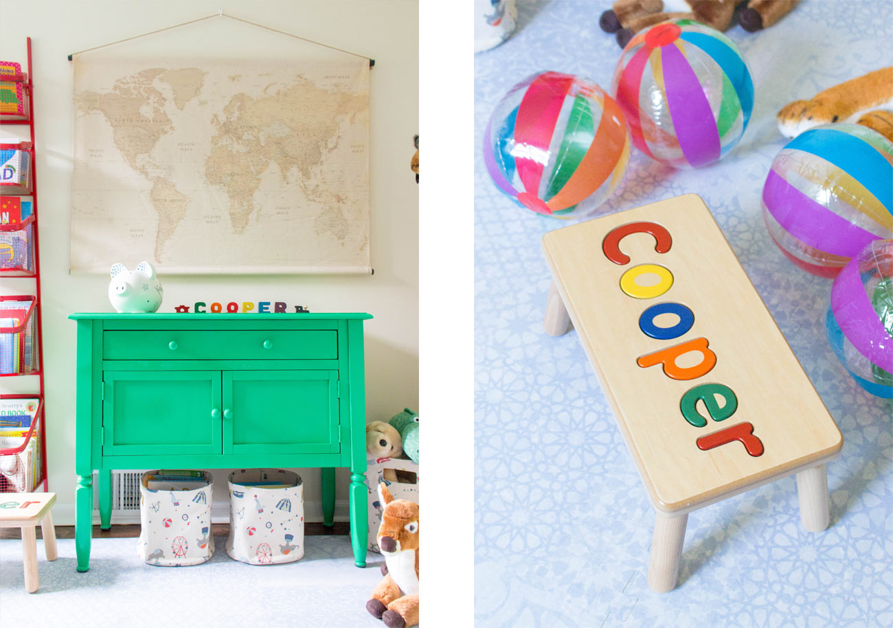 Little Nomad Cooper's Nursery Reveal Stool Green chest