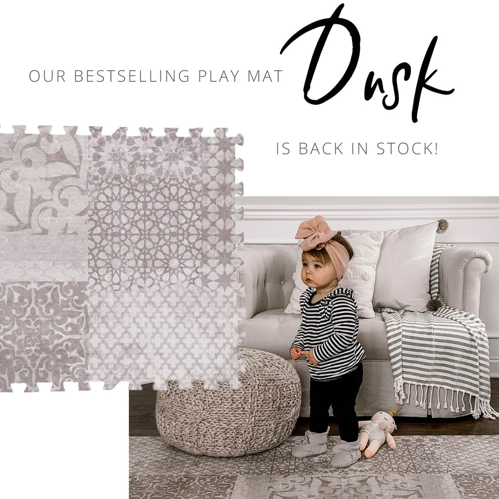 Our best selling play mat pattern - DUSK - is back in stock