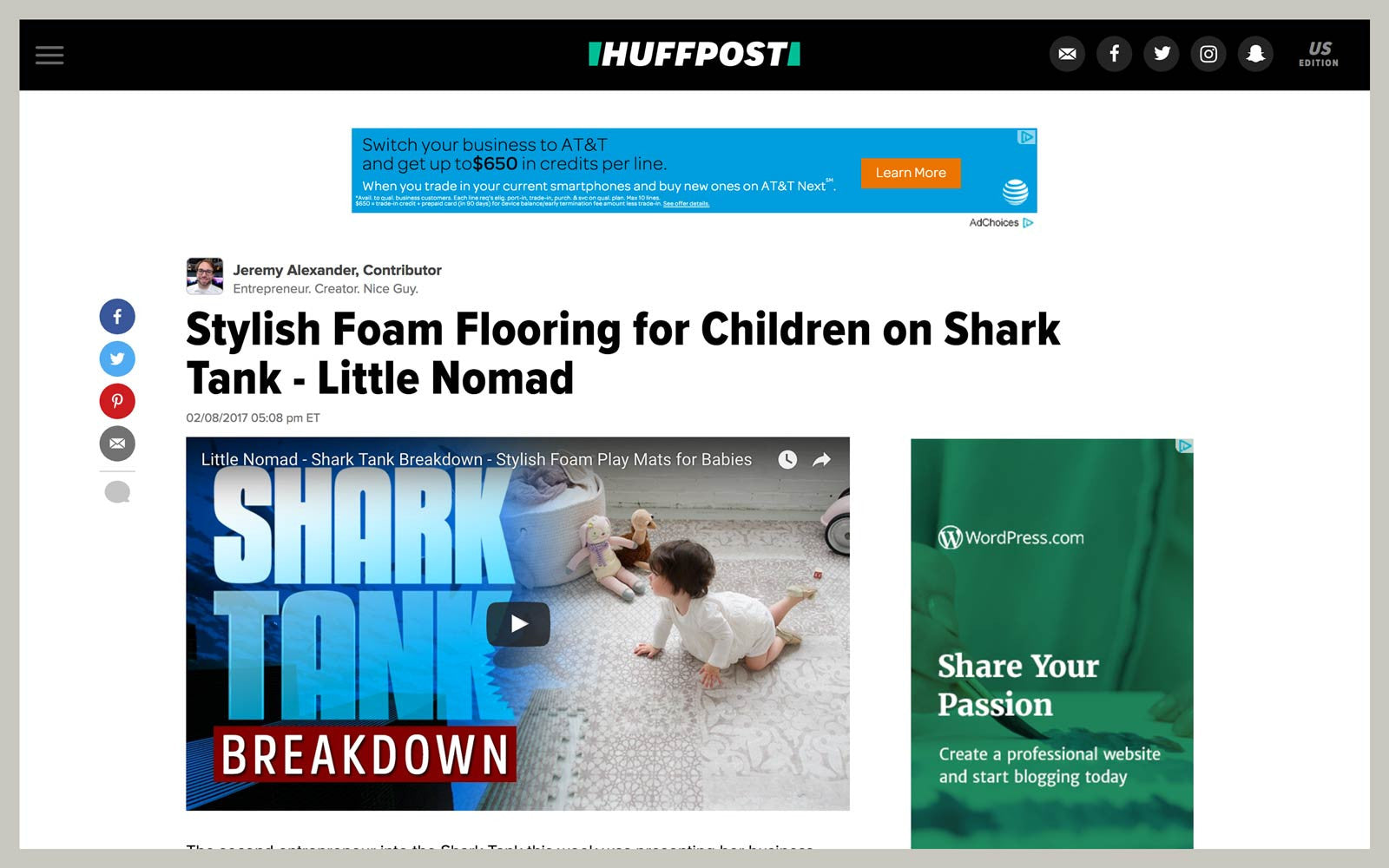 Little Nomad featured on Huffington Post