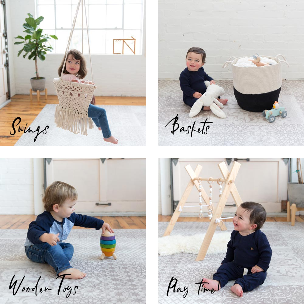 New decor, swings, baskets, and wooden toys