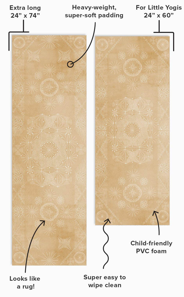 Yoga Leo Mat diagram with features for mobile