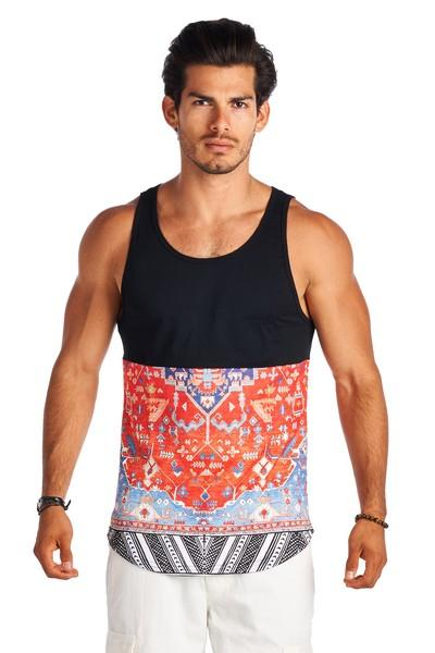 c0e14103720c4 21 Men Black and Red Graphic Design Sleeveless Shirts