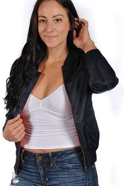 Veveret Womens Bomber Jacket With Flying Eagle And Flag Patch Blue