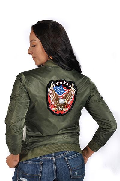 Veveret Womens Bomber Jacket With Flying Eagle And Flag Patch Olive