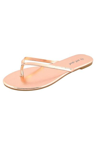 72f5a2449 Wet Seal Womens High Fashion Faux Leather Flip Flops Rose Gold Thong ...
