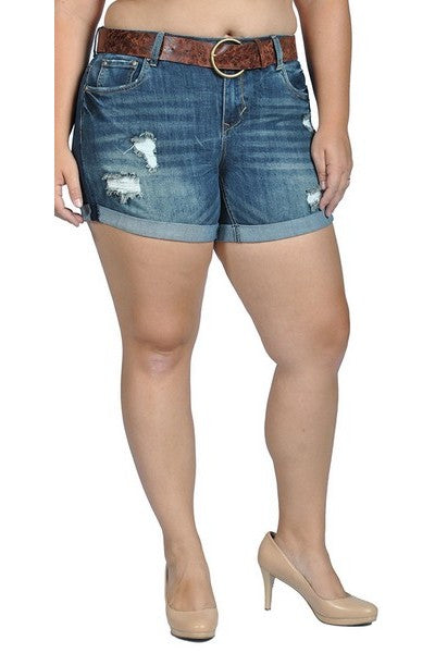 bd69307c8eb Womens Stretch Pull-on Skinny Ripped Distressed Denim Belted Shorts ...