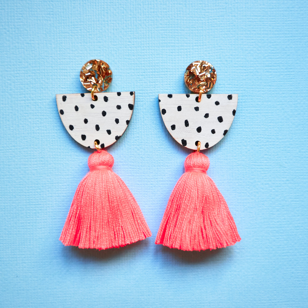 Sophia monochrome tassel earrings Neon coral