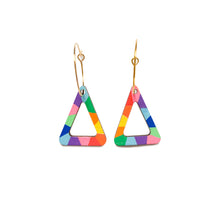 Load image into Gallery viewer, Loopy mini triangle wood hoop dangles Rainbow #3