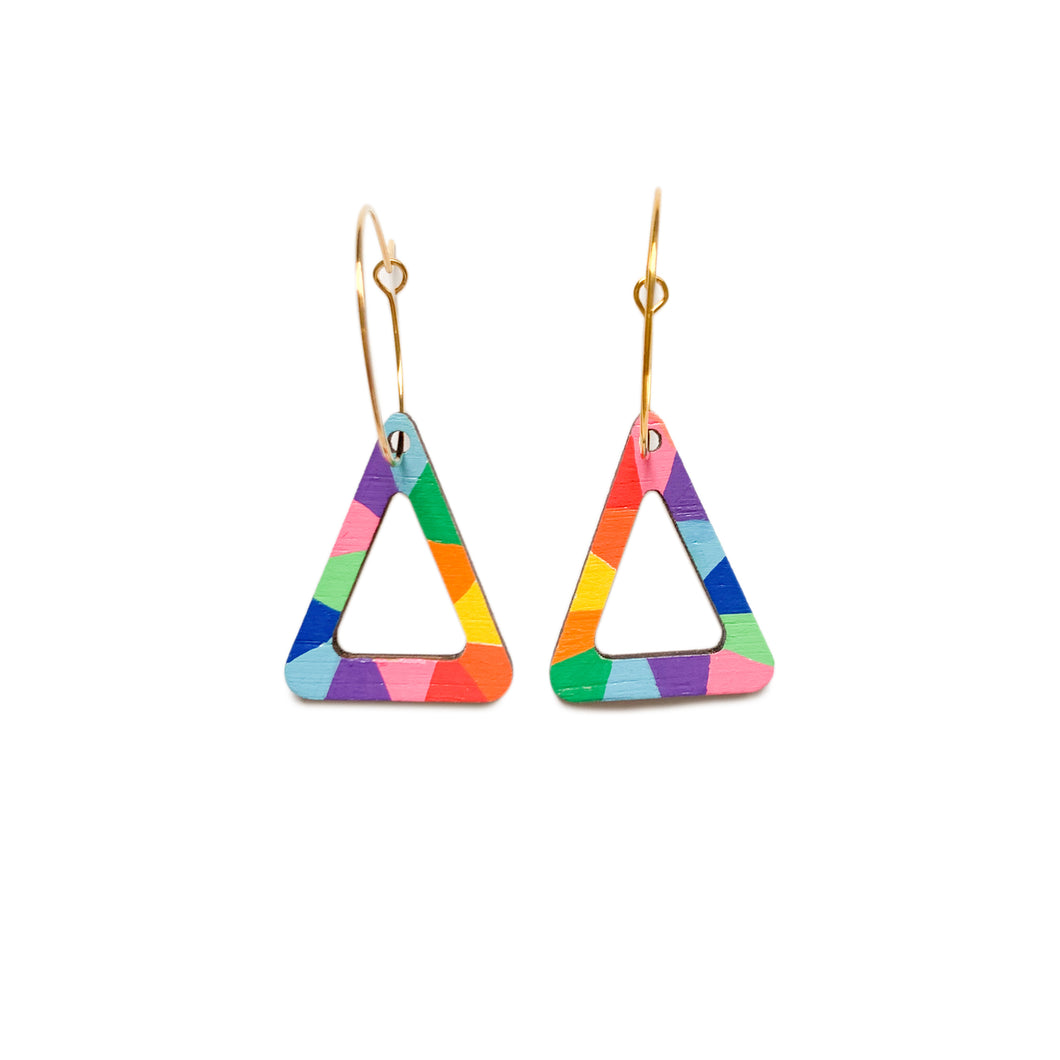 Loopy mini triangle wood hoop dangles Rainbow #3