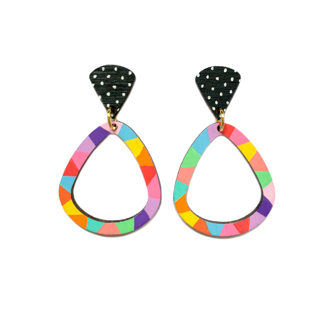 Loopy teardrop wood dangles Rainbow