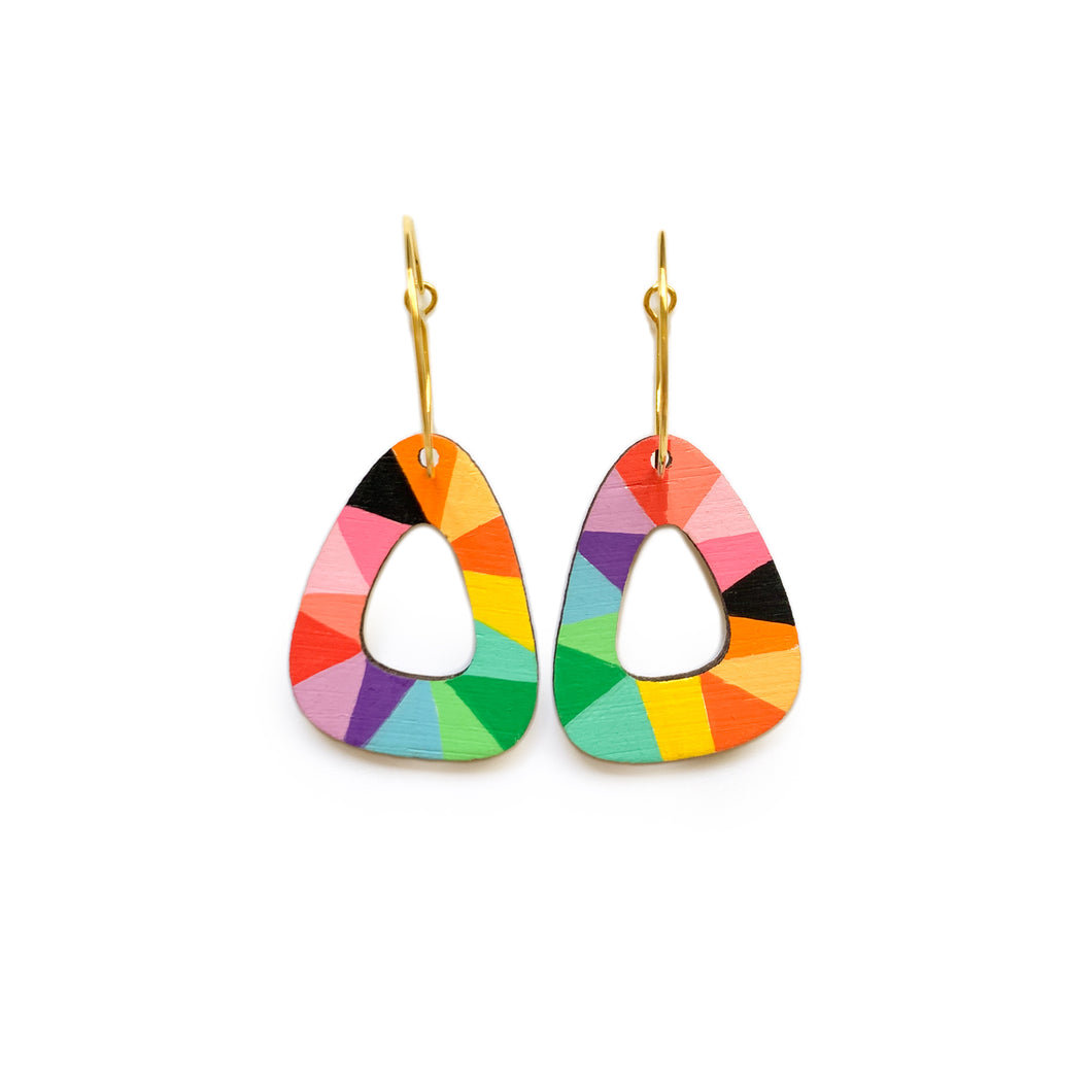 Loopy rounded triangle wood hoop dangles Rainbow/Black