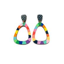 Load image into Gallery viewer, Loopy wood rounded triangle dangles Navy/Rainbow