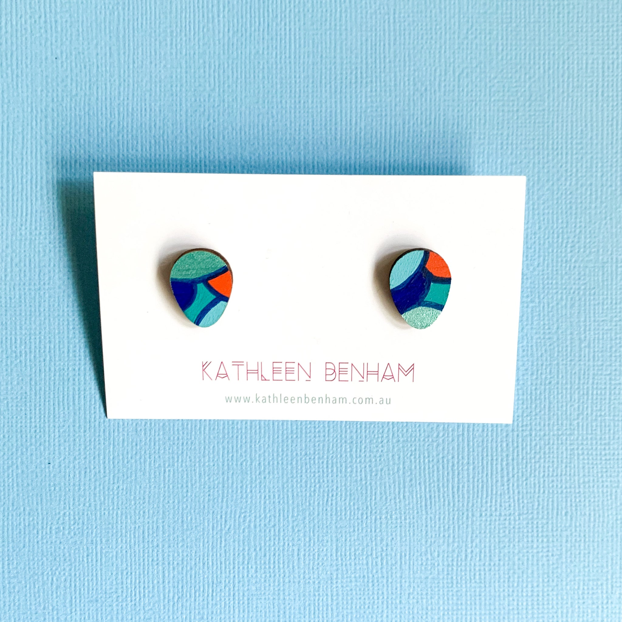 Greta hand painted statement studs Blue & orange