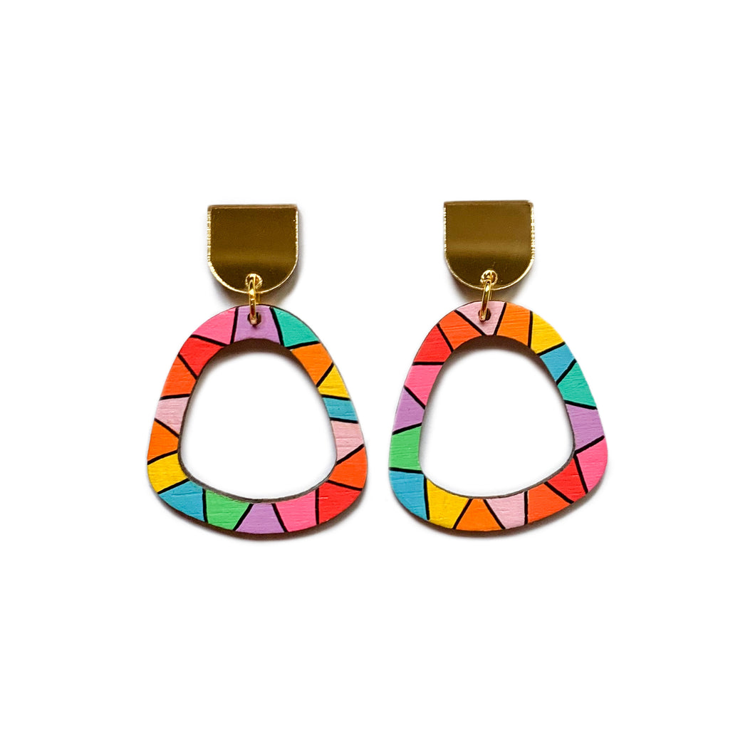 Loopy organic arch wood dangles #1