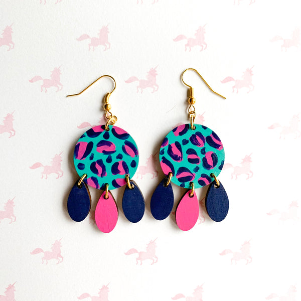 Layla hand painted leopard print wood dangles Teal