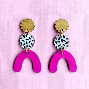 Charlotte hand painted wood dangles Magenta