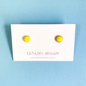 Polymer clay 8mm studs Yellow