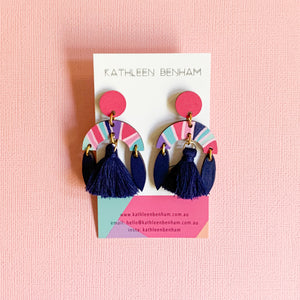 Aria arch hand painted wood tassel dangles Navy
