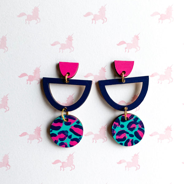 Layla hand painted leopard print wood semi circle dangles Teal