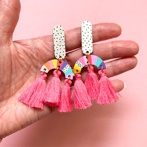 Loopy hand painted wood tassel dangles Red