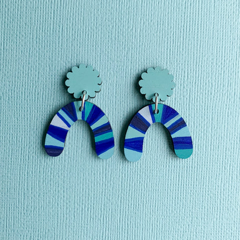 Harper hand painted wood dangles Blues