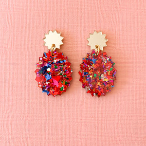 Fireworks glitter acrylic oval earrings