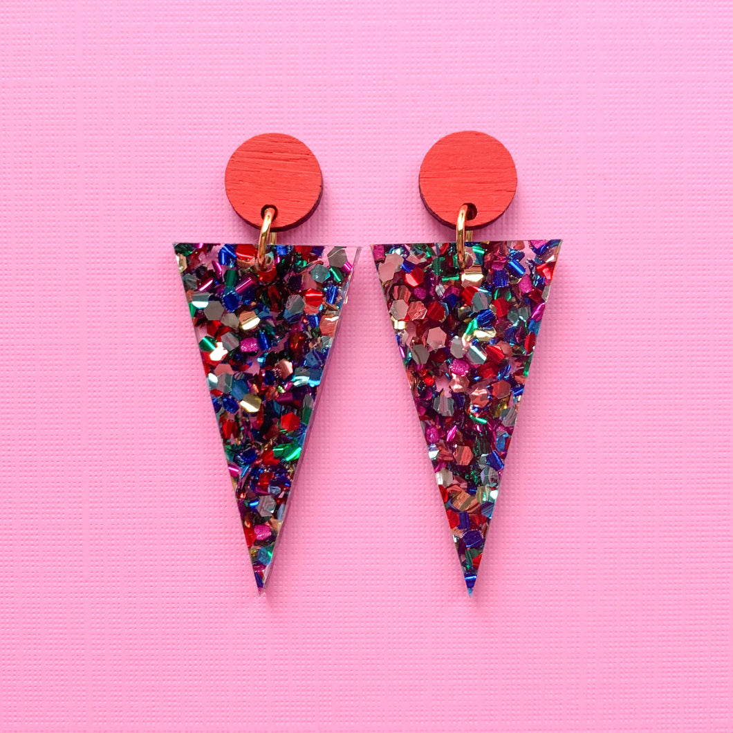 Rainbow glitter acrylic triangle dangles - Red