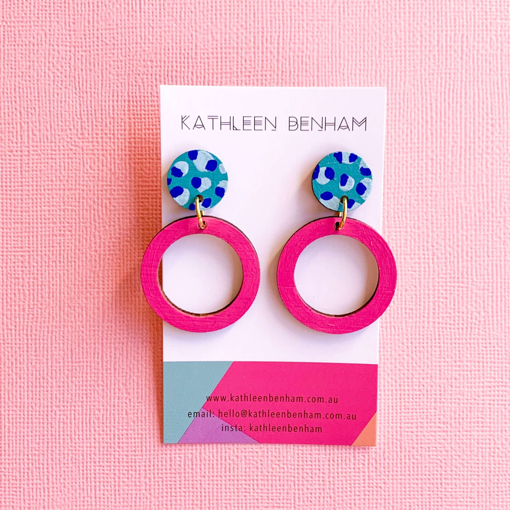 Hazel hand painted bamboo earrings Pink